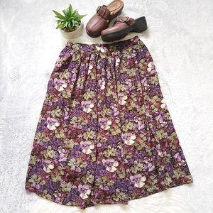Vintage Midi Maxi Floral Skirt Pockets